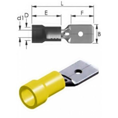 Ακροδέκτης συρταρωτός κίτρινος αρσενικός με μόνωση M5-6.4V/8 6.4mm