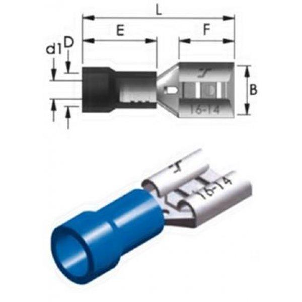 Ακροδέκτης συρταρωτός μπλε θηλυκός με μόνωση 2.8 F2-2.8V/8