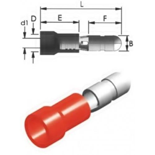 Ακροδέκτης κουμπωτός κόκκινος αρσενικός με μόνωση BD1-4V CHS