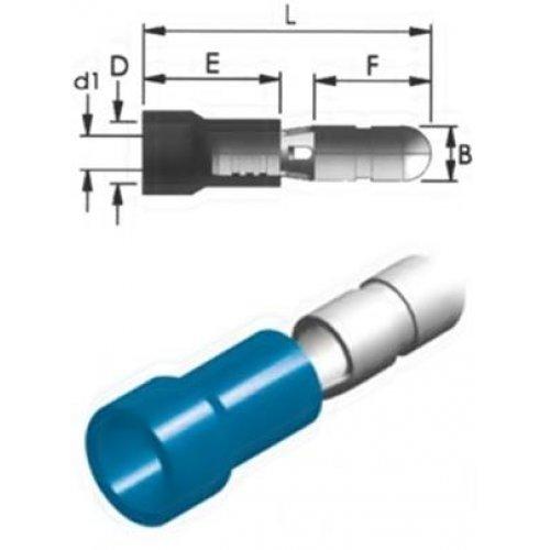 Ακροδέκτης κουμπωτός μπλε αρσενικός με μόνωση BD2-4V CHS