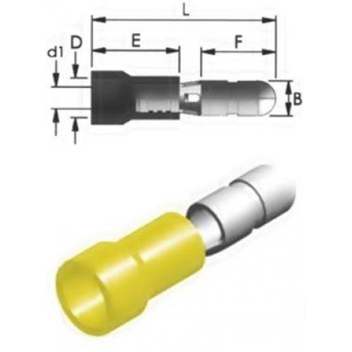 Ακροδέκτης κουμπωτός κίτρινος αρσενικός με μόνωση BD5-5V CHS