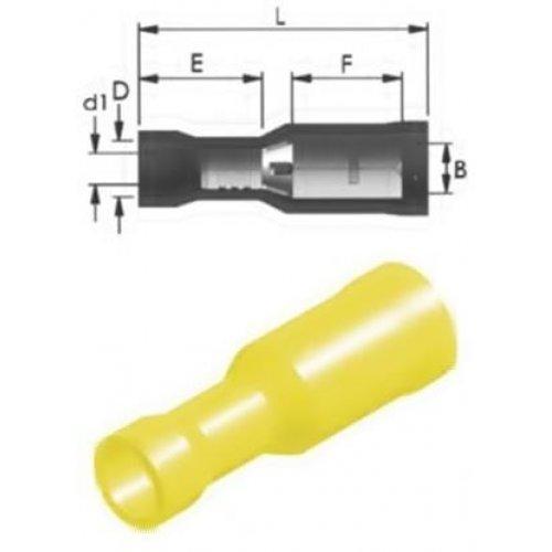 Ακροδέκτης κουμπωτός κίτρινος θηλυκός με μόνωση RE5-5VF JEE