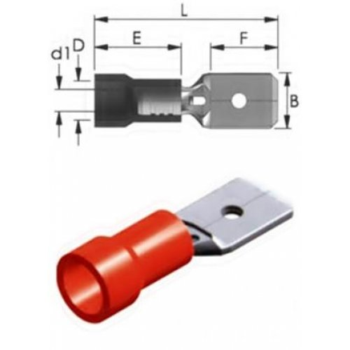 Ακροδέκτης συρταρωτός κόκκινος αρσενικός με μόνωση 4.8 M1-4.8V/8