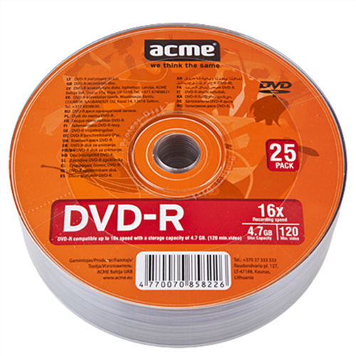DVD-R 4.7GB 16X BOX 25pcs ACME