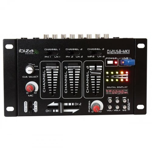 Μίκτης ήχου 3 καναλιών USB DJ21USB-MKii Ibiza Sound