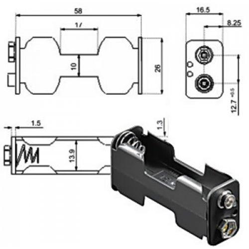 Μπαταριοθήκη 2 x AA μπαταριών με κλιπ BH0011c