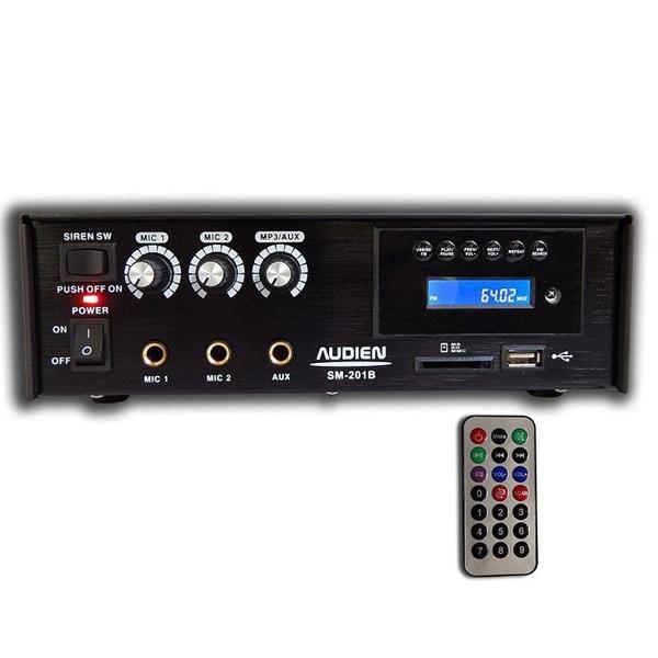Ενισχυτής μικροφωνικός 12VDC + 230VAC 18W 2xMIC/USB/FM SM-201B AUDIEN