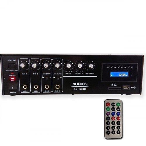 Ενισχυτής μικροφωνικός 12VDC + 230VAC 55W 100V 4xMIC/USB/FM SM-1204B AUDIEN