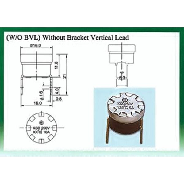 Θερμοστάτης KSD-F01 BVL N/O 55°C με σταθερή κάθετη βάση στήριξης μολύβδου