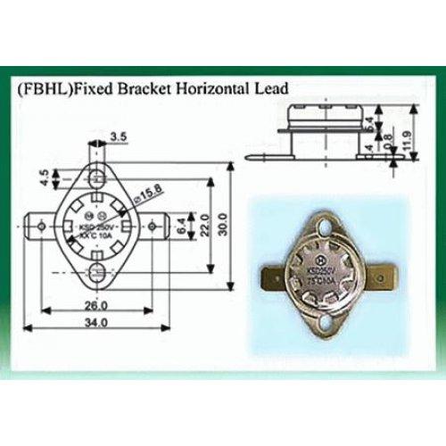 Θερμοστάτης KSD-F01 FBHL N/C 75°C με σταθερή οριζόντια βάση στήριξης μολύβδου