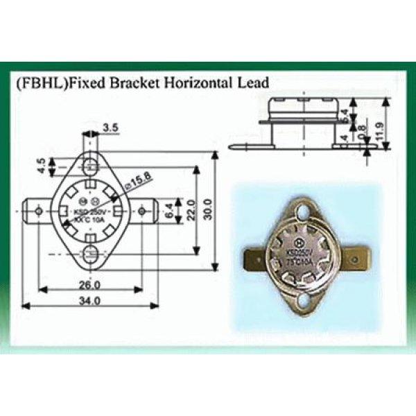 Θερμοστάτης KSD-F01 FBHL N/C 100°C με σταθερή οριζόντια βάση στήριξης μολύβδου