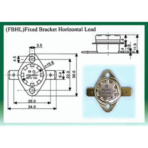 Θερμοστάτης KSD-F01 FBHL N/C 180°C με σταθερή οριζόντια βάση στήριξης μολύβδου