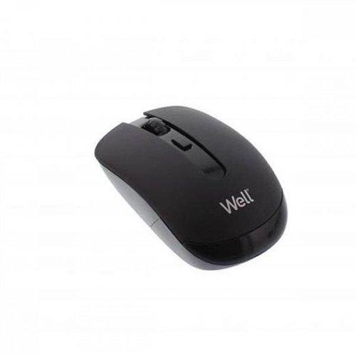 Mouse optical ασύρματο μαύρο 4D usb 1600dpi MW101BK-WL Well