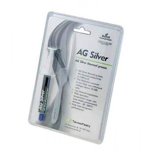 Θερμοαγώγιμη πάστα ασημί σιλικόνη + άργυρος 3gr AGT-107 AG Termopasty
