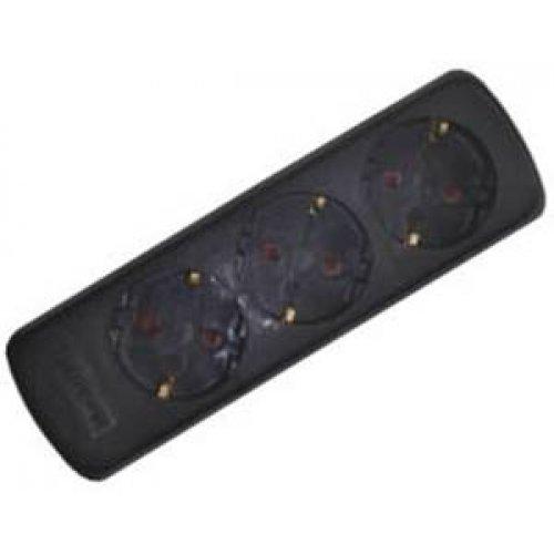 Πολύπριζο 3 σούκο πλάγιο χωρίς καλώδιο χωρίς διακόπτη μαύρο GES-035