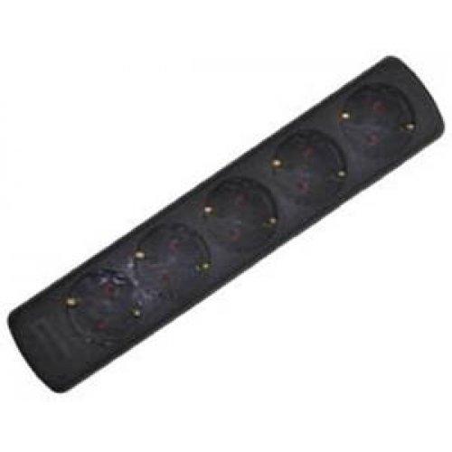 Πολύπριζο 5 σούκο πλάγιο χωρίς καλώδιο χωρίς διακόπτη μαύρο GES-037