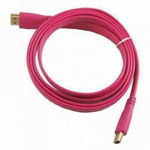 Καλώδιο HDMI αρσενικό -> HDMI αρσενικό 1.4v flat ροζ 1.5m CMPLe