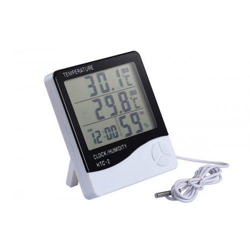 Θερμόμετρο - υγρόμετρο ψηφιακό με αισθητήρα και ξυπνητήρι HTC-2