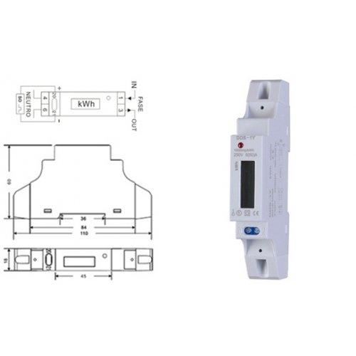 Κιλοβατοωρόμετρο ράγας ψηφιακό 1 φάση 5-50Α DD10-L02