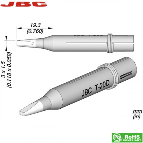 Μύτη κολλητηριού 3x1.5mm T-20D JBC