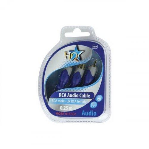 Καλώδιο 1 RCA αρσενικό -> 2 RCA θηλυκά 25cm HQSA-014 HQ