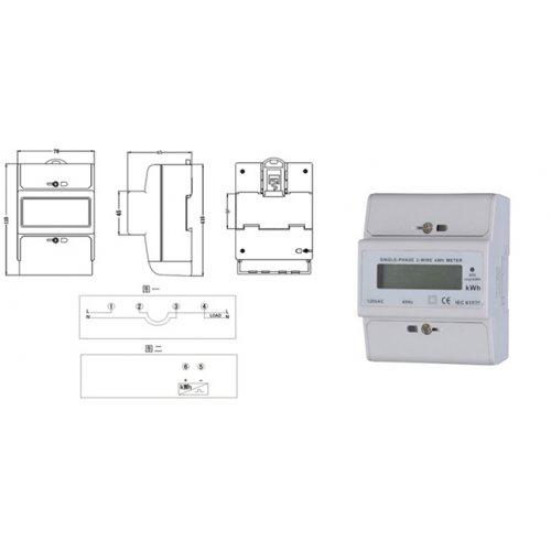 Κιλοβατοωρόμετρο ράγας ψηφιακό 1 φάση 10-100A DD40-L01