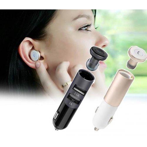 Τροφοδοτικό αυτοκινήτου 12V DC In -> 2 x USB A Out 5V 2.1A + Bluetooth ακουστικό χρυσό RB-T11C Remax