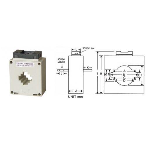 Μετασχηματιστής AC οργάνων πίνακος Φ40 100/5 Sfim
