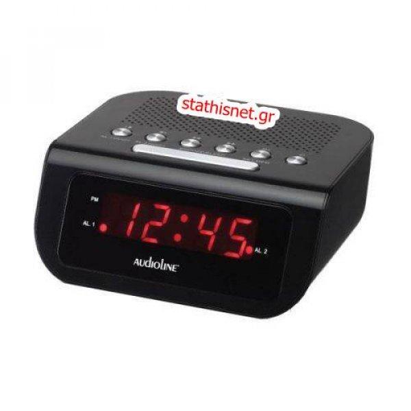 Ρολόι ράδιο fm ξυπνητήρι 230V AC LCD  μαύρο AV-972 Audioline