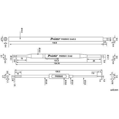 Κατσαβίδι συντονισμού 3pcs αντιστατικά 1PK-606A Pro'sKit