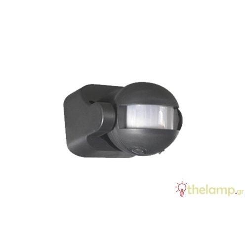 Ανιχνευτής κίνησης τοίχου μαύρος 1000W 230V 180° PIR-400B IP44