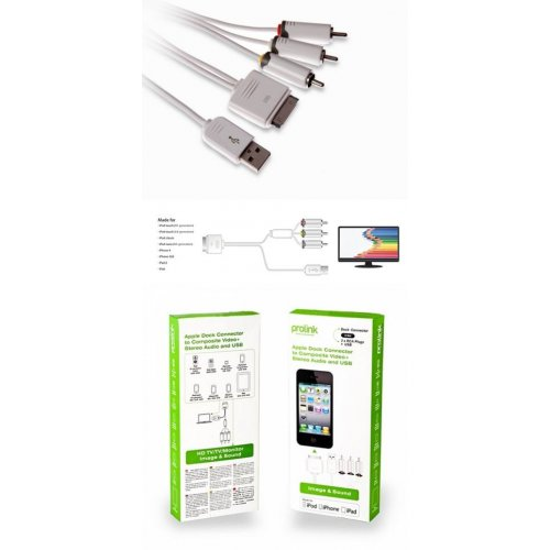 Καλώδιο apple dock -> USB A + 3 RCA PMM228-01 Prolink
