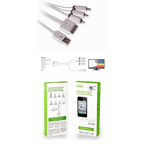 Καλώδιο apple dock -> USB A + 3 RCA PMM228-01 Prolink
