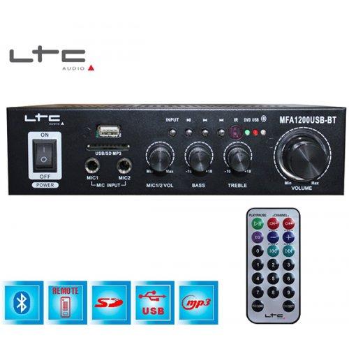 Ενισχυτής μικροφωνικός 2x50W 12VDC + 230VAC 2xMIC/USB/Bluetooth MFA1200USB-BT-BL LTC Audio