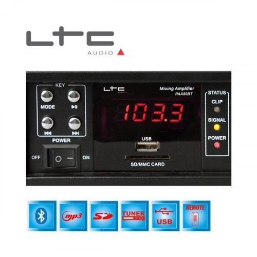 Ενισχυτής μικροφωνικός 80W 100V 2xMIC/FM/USB/Bluetooth PAA80BT LTC Audio