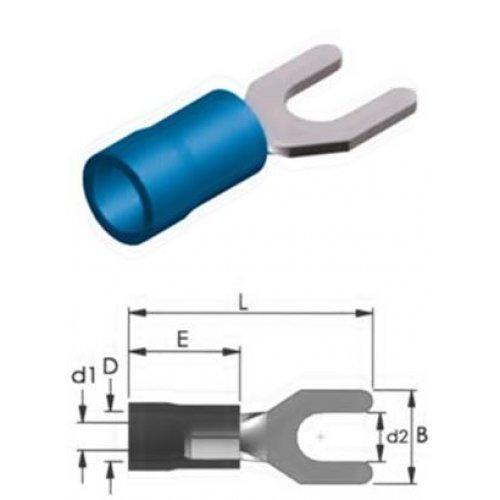 Ακροδέκτης δίχαλο με μόνωση μπλε 4.3-2mm S2-4MV LNG