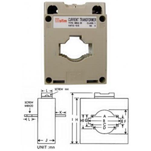 Μετασχηματιστής AC οργάνων πίνακος Φ30 100/5 Sfim