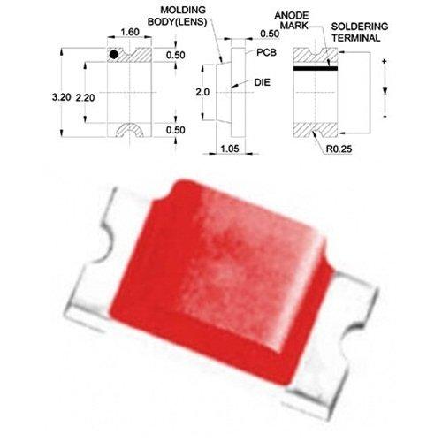 LED SMD 1206 ΚΟΚΚΙΝΟ 140* 15-51mcd TO-3216BC-SD