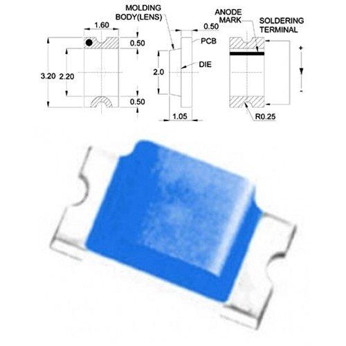 LED SMD 1206 ΜΠΛΕ 140* 17-51mcd TO-3216BC-BD