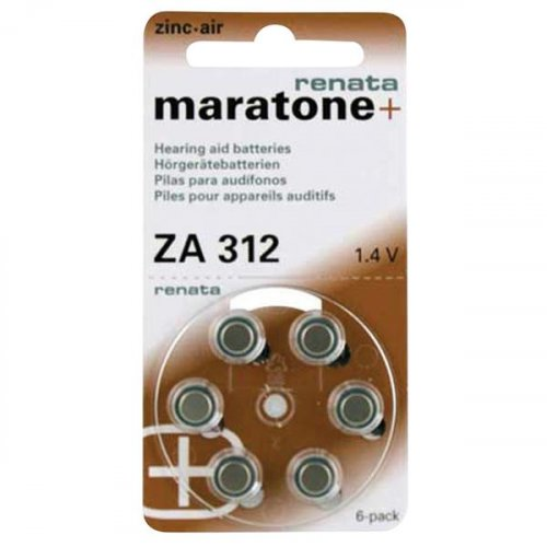 Μπαταρία ακουστικών βαρηκοϊας 1.4V ZA 312 BL6pcs Maratone+ Renata