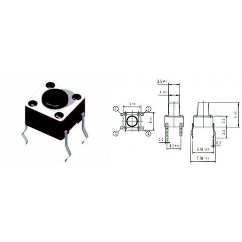 Tact switch 6x6x12.5mm 4pin 180gf 1105DBF