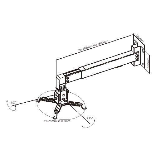 Βάση Projector Τοίχου PRB-2W Brateck