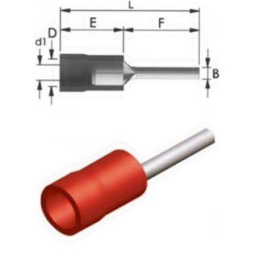 Ακροδέκτης μύτη μόνωση κόκκινος PT1-10V 1,25mm JEE