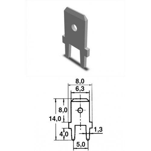 Ακροδέκτης γυμνός συρταρωτός αρσενικός κάθετος 6.3-2.5mm (805551) CYI