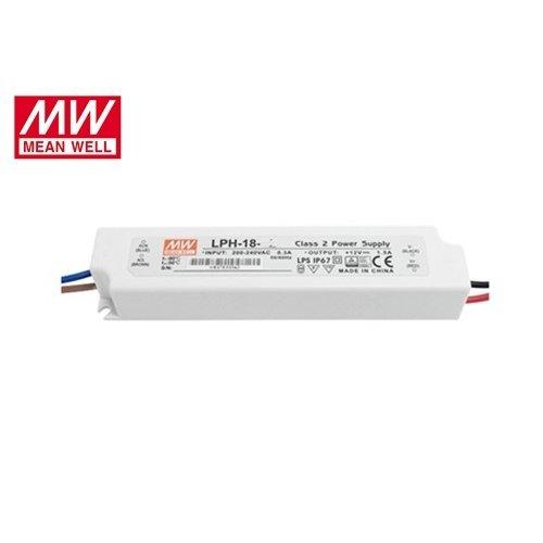 Τροφοδοτικό Led 230V IN -> OUT 24VDC 18W 0.75A IP67 LPH18-24 Mean Well