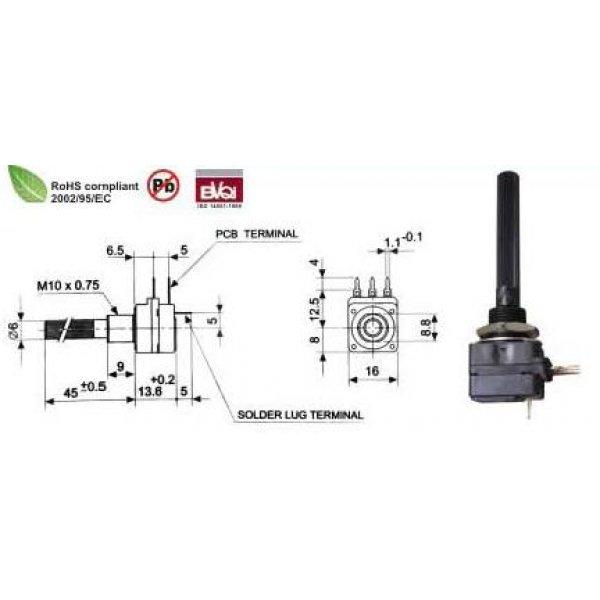 Ποτενσιόμετρο γραμμικό μονό με διακόπτη PC16I-Α 470Ω PIHER