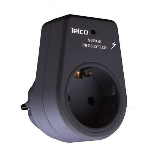 Πρίζα Μονή Με Προστασία Υπέρτασης μαύρη KF-GZBD01/01 TELCO