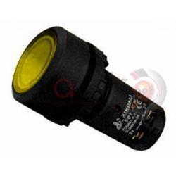 Μπουτόν κίτρινο χωνευτό Φ22 4 επαφών με LED SB7-CW3561