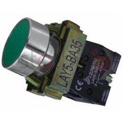Μπουτόν πράσινο χωνευτό Φ22 1NO με 1NC με επαφέσ BA35