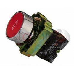 Μπουτόν κόκκινο χωνευτό Φ22 1NC με ενδεικτικό STOP BA4342